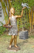 Girl With Bird Bronze Sculpture