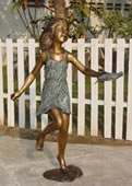 Girl with Turtle Bronze Sculpture