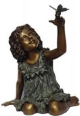Girl With Butterfly Bronze Statue