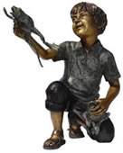 Boy With Two Frogs Bronze Statue