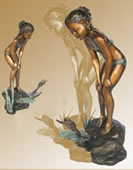 Girl with Frog Bronze Fountain