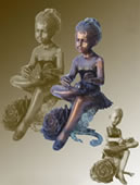 Ballerina Girl on Rose Bronze Sculpture
