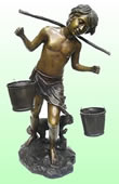 Boy Balancing Buckets Bronze Sculpture