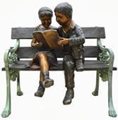 Kids Reading on Bench- Bronze Statue