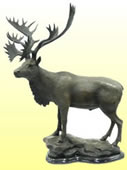 Standing Elk- Bronze Statue on Marble Base