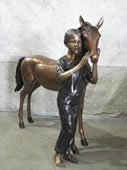 Girl with Pony- Bronze Sculpture