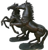 Rearing Horses Bronze Sculpture Pair