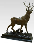 Bronze Deer on Marble Base