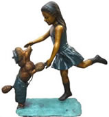 Dancing Girl With Dog- Bronze Statue