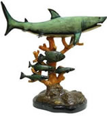 Bronze Shark on Coral Statue