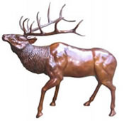 Bronze Standing Elk Sculpture, Large