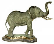 Bronze Elephant Statue on Base
