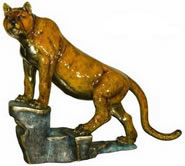 Tiger on Rock Bronze Statue
