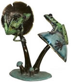 Two Frogs on Mushroom- Bronze Statue