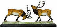 Painted Bronze Elk Statue on Marble Base