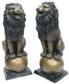 Bronze Lion Pair Sitting on Balls, 53 Inch