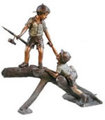 Two Boys Fishing Bronze Sculpture
