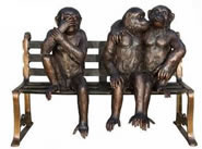 Three Monkeys Sitting on Bench- Bronze Sculpture