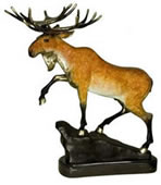 Bronze Moose Statue on Marble Base