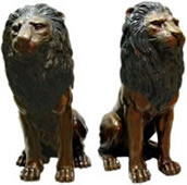 Bronze Sitting Lion Pair