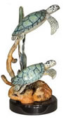 Two Sea Turtles Statue on Marble Base