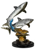 Two Sharks Statue, Bronze on Marble Base