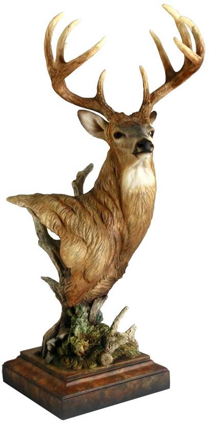 Watchful Whitetail Deer Sculpture