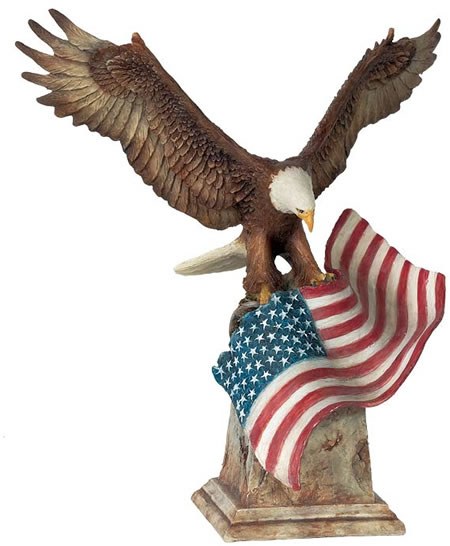 Patriot- Eagle With Flag Statue