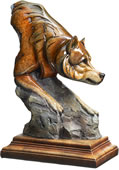 Bashful Wolf Sculpture