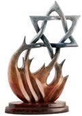 Burning Bush Jewish Star Sculpture