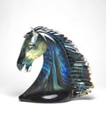 Calcedonia Glass Horse Bust