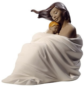Cozy Slumber Mother with Child Figurine