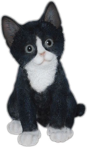 "Black/White Kitten Statue 7.75""H"