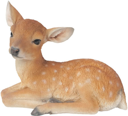 Laying Fawn Deer Statue 17.75