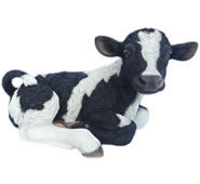 "Realistic Lying Cow Calf Statue- 21""L"