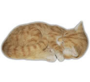 "Sleeping Ginger Cat Statue- 11.75""L"