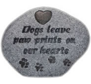 Dog Memorial Stone- Paw Prints- Grey