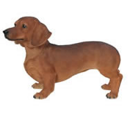 "Brown Dachshund Statue- 19.75""L"