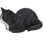 "Black/White Dreaming Cat Statue 13.5""L"