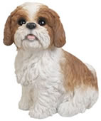 "Sitting Brown Shih Tzu Statue- 11""L"
