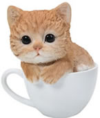 Tea Cup Ginger Kitten Statue