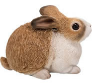 Rabbit Statue- White/Brown