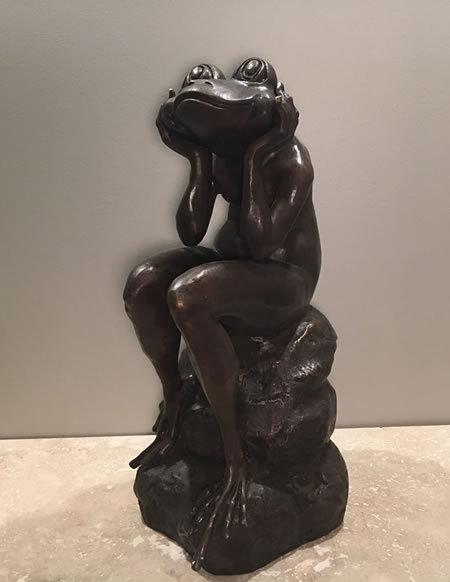 Sitting Bronze Frog Sculpture 20 5 Quot H Bronze Pa6913