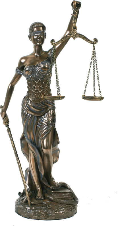 Blind Lady Justice Statue- 12 Inch