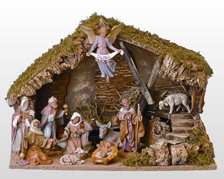 Fontanini 11 Piece Nativity Set with Italian Stable