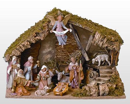 Fontanini 11 piece nativity set with italian stable roman fontanini