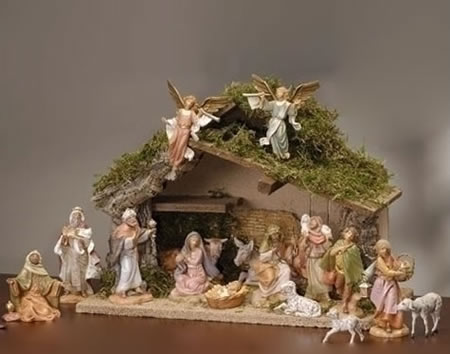 Fontanini 16 Piece Nativity Set with Italian Stable
