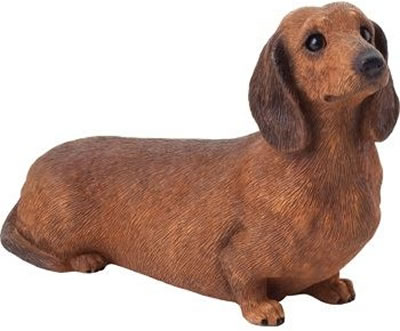Dachshund Dog Figurine, Smooth/Red