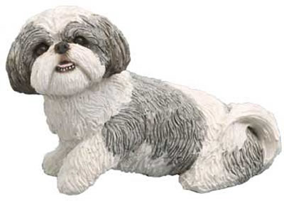 Shih Tzu Dog Figurine- Silver/White