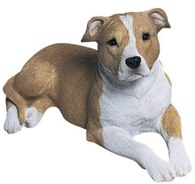 Pit Bull Terrier Dog Statue, UC/Lying